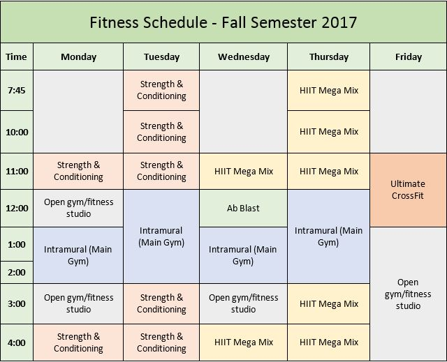 Fitness Schedule Revised